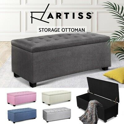 Artiss Ottoman Blanket Box Storage PU Leather Fabric Chest Toy Foot Stool Bed