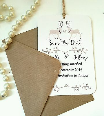 save the date Christmas reindeer winter weddinG wedding stationery set of 50