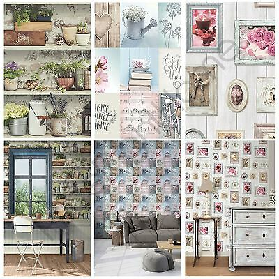 Muriva Generic Home Wallpaper - Lazy Days, Potting Shed, Sweet Home Feature Wall