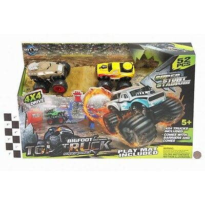 Bigfoot Monster Toy Car Truck Super Stunt Stadium Play Set Mat Xmas Gift 52pc