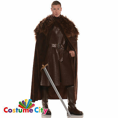 Mens Brown Fur Trim Medieval Rennaisance Winter Cape Fancy Dress Accessory