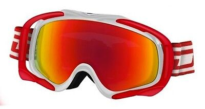 Dirty Dog 54118 Outrigger Snow Boarding Skiing Goggles White & Red/fusion Mirror