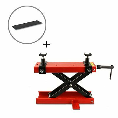 Motorcycle jack scissor lift paddock stand red incl. rubber pad