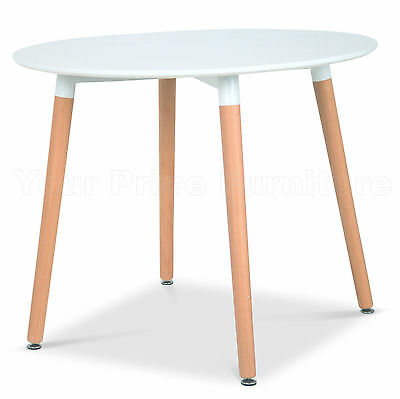 Eiffel Small White Designer Dining Table 90cms Round Wood Legs Eames Inspired
