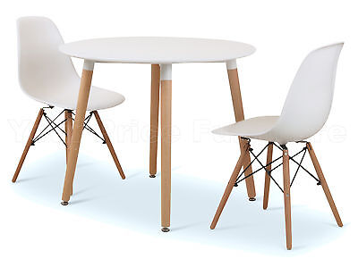Eiffel Small White Dining Set 90cms Round Table Wood Legs 2 Chairs Eames Style