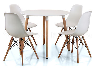 Eiffel Small White Dining Set 90cms Round Table Wood Legs 4 Chairs Art Deco