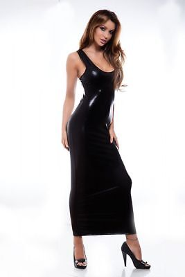 Sexy Wetlook Kleid Clubwear Party Abendkleid Gothic Maxikleid schwarz S M L XL
