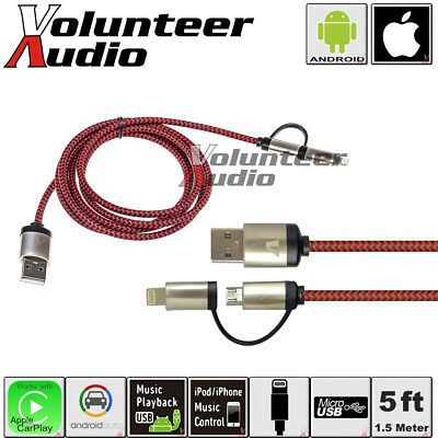 VolAudio Braided 2 IN 1 USB Charging Cable For Apple CarPlay and Android Auto
