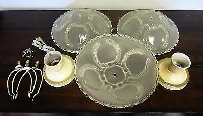 set of 3 VINTAGE ART DECO Ceiling Light Fixtures 1930's Horseshoe pattern