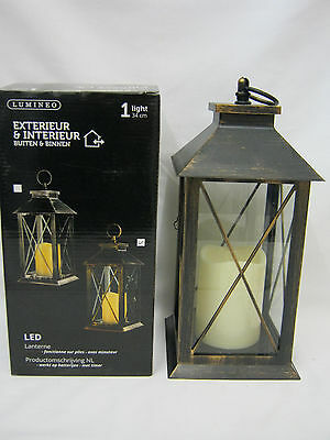 New Lumineo Battery Operated LED Lantern With Timer Black Antique Copper 482388