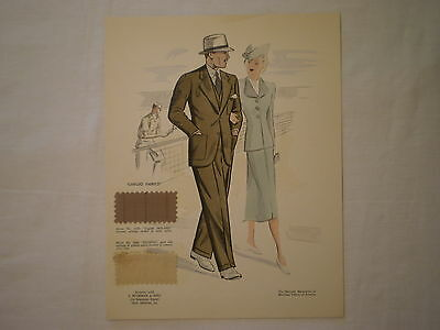 VINTAGE 1940's MEN'S FASHION LITHOGRAPH - MAN WEARING SUIT w/ FABRIC SAMPLES
