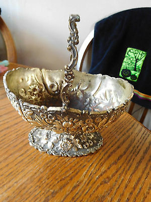 Lovely Vintage Silver Plate Over Copper Small Brides Basket with Folding Handle~