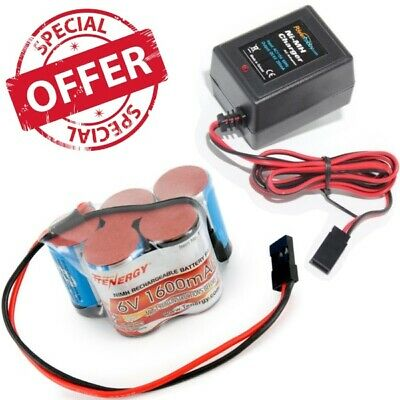 Tenergy 5 Cell 6V 1600mAh NiMH Hump Receiver Battery Pack w Charger