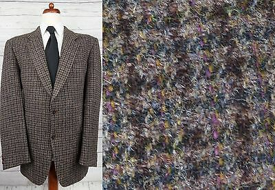 Vtg Brown Country Check 2 Button Harris Tweed Jacket -44L- DD35