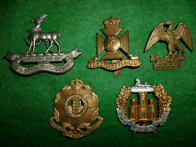 Beginner's Lot # 3 of (5) British Army Suspected Restrike Cap Badges, WW1/WW2