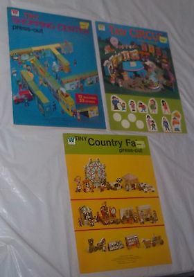 Vintage Whitman 1976 Tiny Press Out Lot Unused Country Fair Circus Shopping