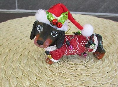 DACHSHUND Christmas Ornament Lights Sweater Santa Hat 86062 Adorable!