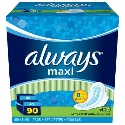 2pk Always Long Super Maxi Pads with Flexi-Wings 45 ct each