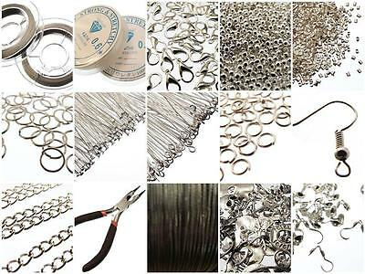 Silver Jewellery Making Components Starter Kit Tools Cords Findings Charms Beads