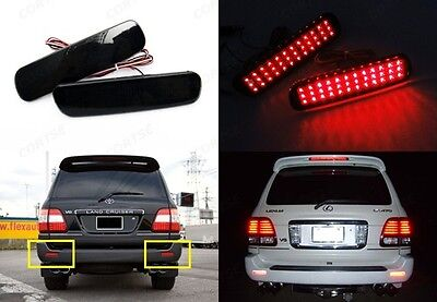 2x Land Cruiser Black Smoked Bumper Reflector LED Tail Brake Light Amazon UZJ100
