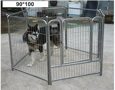 Large Strong Play Pen Enclosure For Dog Puppy Pet Run Garden Indoor Cage In Grey
