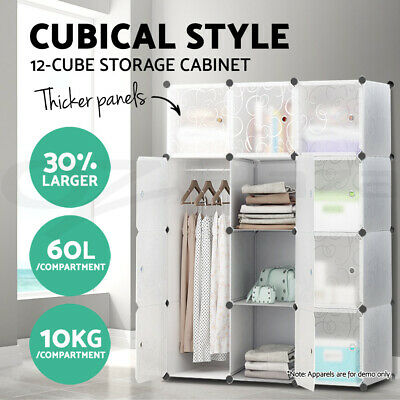XL DIY 12 Cube Storage Cabinet Compartment Wardrobe Shoe Rack Shelf Portable