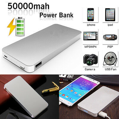 50000mAh Portable Power Bank Pack 2-USB Battery Charger For iPad iPhone Samsung