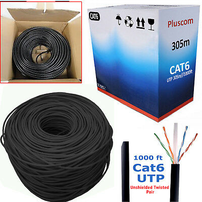 305M RJ45 Cat6 Network Ethernet Cable Roll UTP Outdoor Modem ADSL Internet Lead