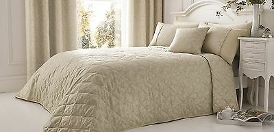 Embroidered Floral Rope Trim Natural Beige Quilted Bedspread Throw 240 X 260Cm