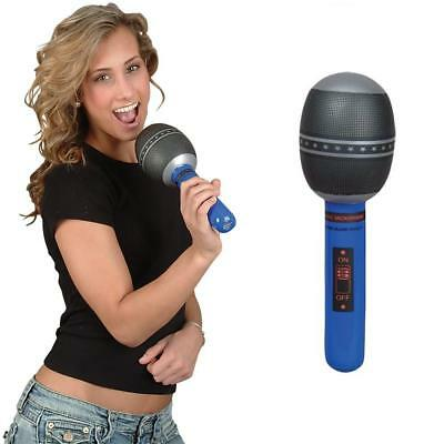 """10.5"""" Inflatable Blue Microphone Musical Instrument - Blow Up Kids Party Toy"""