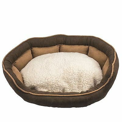 Pet Basket Bed Cushion with Fleece Lining Dog Cat Sofa Small Brown Soft Washable