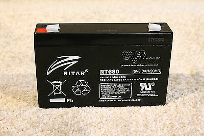 New - RITAR RT680 - 6V 8AH TOP QUALITY lead acid Battery - suits 7ah and 7.5ah