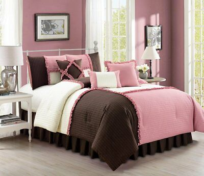 Chezmoi Collection 7p Rose Pink Brown Ivory Patchwork Ruffle Comforter Set Queen