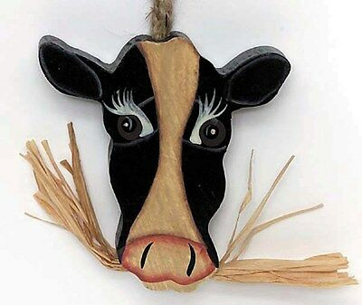 "3x3.5"" Primitive Country Wood COW Face KITCHEN Home Wall Decor Wooden Cows Sign"