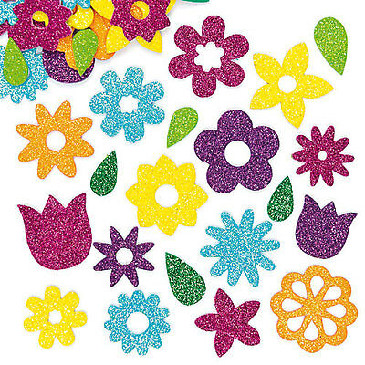 Flower Glitter Foam Stickers for Kid's Crafts & Card Making (Pack of 120)