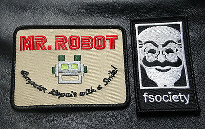 Mr Robot Fsociety 2Pc Set Tv Show Embroidered Iron On Patch