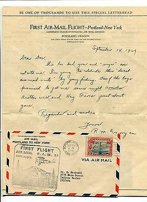Vintage First Flight cover and letter 1st airmail Portland OR to NY 1929