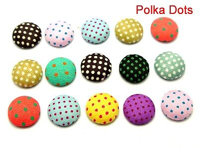 50 Mixed Color Flatback Polka Dots Fabric Covered Round Buttons 12mm Cabochon