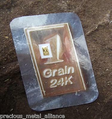 1 Grain Gr 24K Pure 999.9 Fine Gold Bullion  Professionally Minted  Bar Bin35