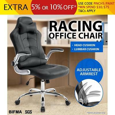 Executive Office Computer Racing Chair Gaming Seat Removable Headrest PU Leather