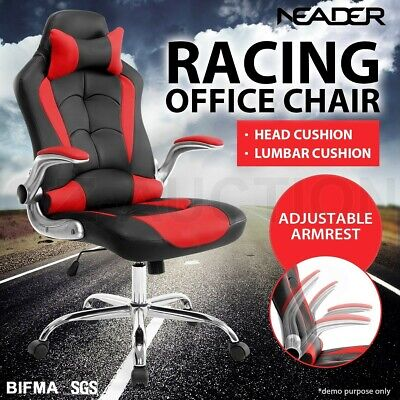 Executive Office Racing Chair High Back Gaming Computer Seat Removable Headrest