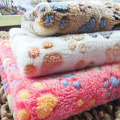 Small Large Puppy Warm Pet Mat Paw Print Cat Dog Fleece Blanket Bed Cushion Cozy