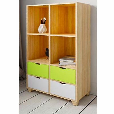 New Retro Bookcase Storage Shelving Unit 4 Drawer Home Office Study Furniture