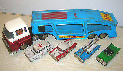 Red China Tintoy - Car Carrier Transporter & 4 Cars MF 868 - 60er/70er Jahre