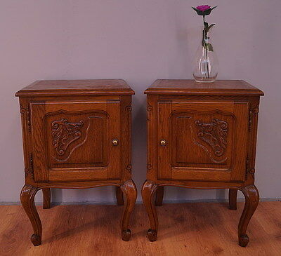 888 !! Superb Oak Bedside Tables In Louis Xv Style !!