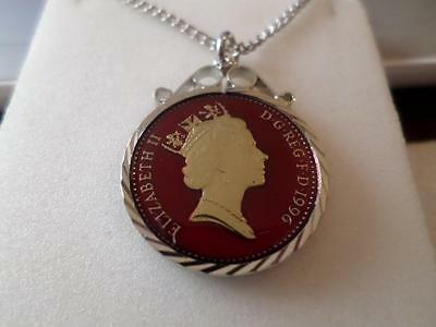 Vintage Enamelled Ten Pence Coin 1996 Pendant & Necklace. 21St Birthday Present
