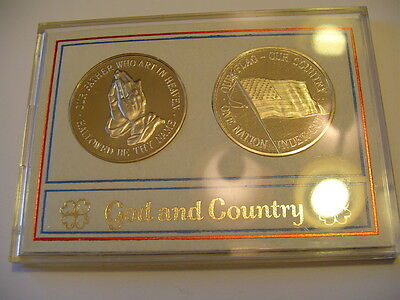 God & Country Set of Coins Medals In Plastic Case
