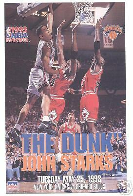 "ORIGINAL STARLINE John Starks ""The Dunk"" Knicks Poster OOP RARE 23X35 FULL SIZE"