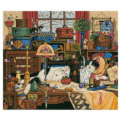 """Gold Collection Maggie The Messmaker Counted Cross Stitch Ki-14""""X12"""" 18 Count"""