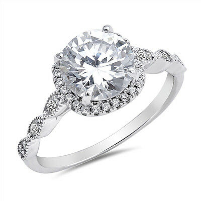 Sterling Silver .925 CZ Women's Halo Vintage Antique Engagement Ring Size 5-10
